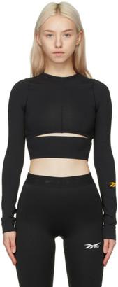 Reebok x Victoria Beckham Black Logo Crop Long Sleeve Sport Top