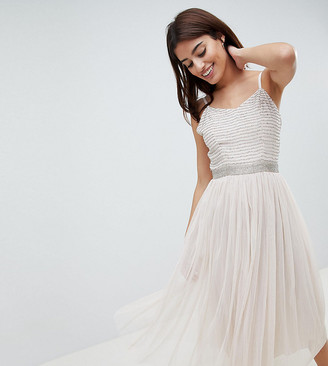 Amelia Rose Midi Cami Strap Dress with Tulle Skirt and Embellished Upper