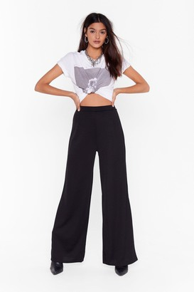 Nasty Gal Womens Move It Wide-Leg Trousers - Black - 4