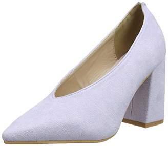 Lost Ink Women's Cindy HIGH Vamp Block Heel Shoe Closed Toe (Light Purple 0069), 6 (39 EU)