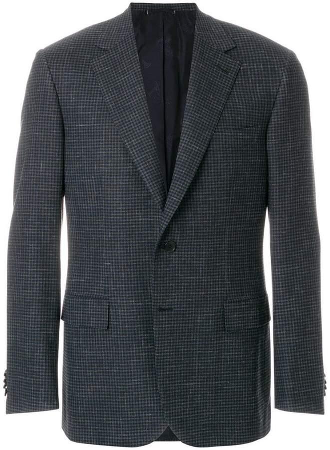 Brioni boxy checked blazer