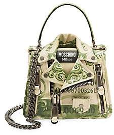 Moschino Women's Cash Biker Jacket Leather Crossbody Bag