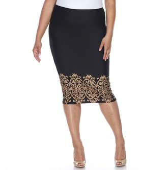 White Mark Plus Size Print Pencil Skirt