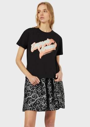 Emporio Armani Jersey T-Shirt With Cartoon Logo