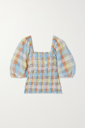 Ganni Shirred Checked Cotton-blend Seersucker Top