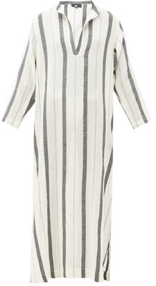 SU PARIS Kiku Striped Cotton Kaftan - Cream Stripe