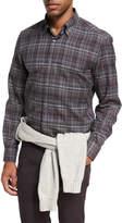 Ermenegildo Zegna Plaid Cotton Shirt, Dark Gray/Burgundy