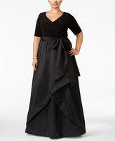 Adrianna Papell Plus Size Taffeta Faux-Wrap Gown