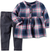 Carter's 2-Pc. Flannel Plaid Top & Jeggings Set, Baby Girls (0-24 months)