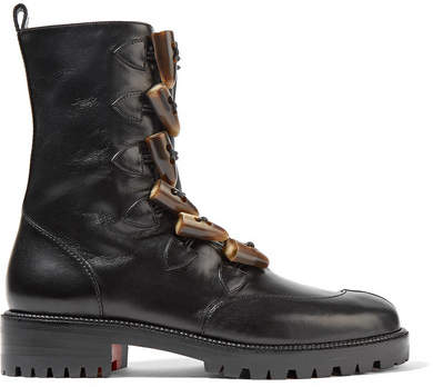 Christian Louboutin Kloster Shearling-lined Leather Boots - Black
