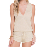 Luli Fama Cosita Buena Cover Ups T-Back Romper In Gold Rush (L177827)