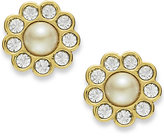 Kate Spade Earrings, 12k Gold-Plated Cream Glass Pearl Stud Earrings