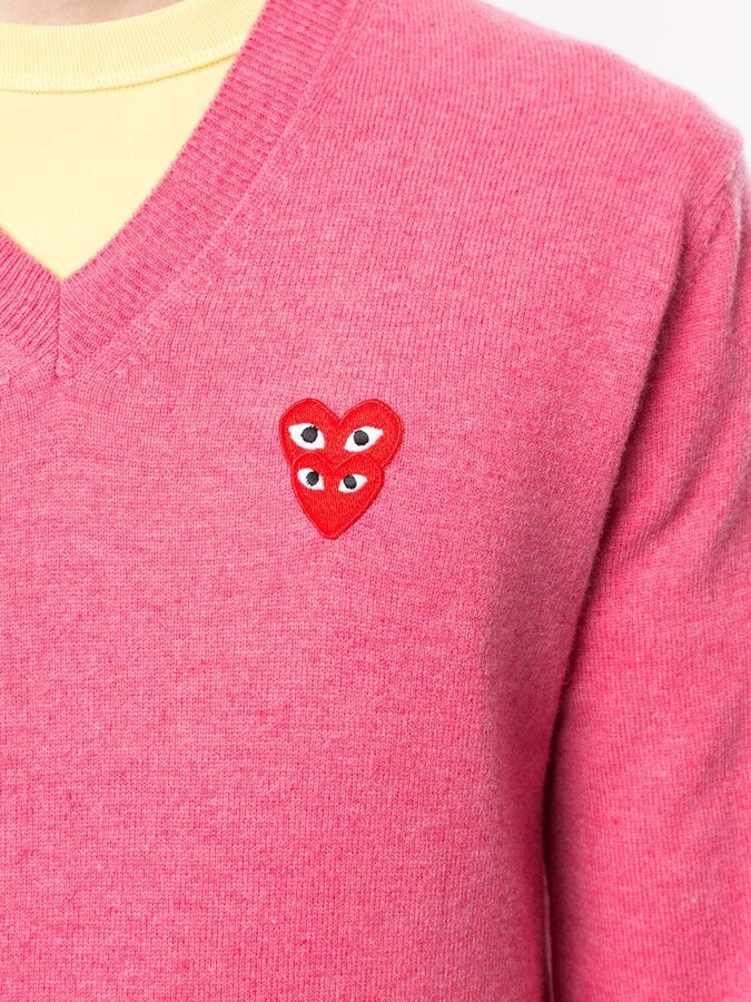 Thumbnail for your product : Comme des Garcons double red heart V-neck jumper