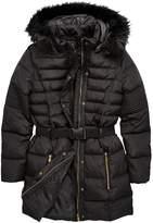 Very Girls Belted Longline Padded Coat - Black
