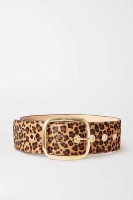 Black & Brown Leopard-print Calf Hair Waist Belt - Leopard print