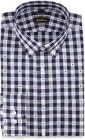 Neiman Marcus Trim-Fit Big Check/Dot Dress Shirt, Navy