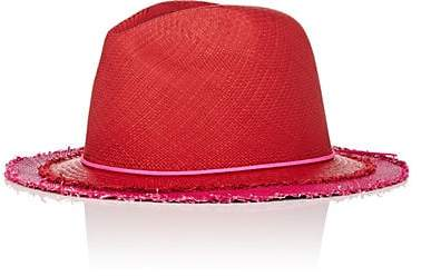 Lafayette House of Women's Johnny 4 Layered-Look Straw Panama Hat - Red