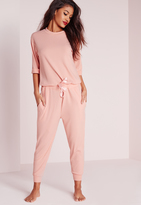 Missguided Ribbed Slouch Pyjama Romper Nude