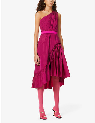 Max Mara Elegante Orologi ruffled woven midi dress