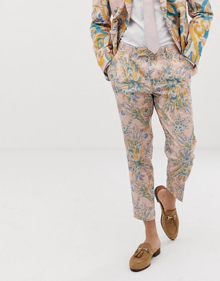 Asos Design DESIGN wedding cigarette suit pants in paisley print-Beige