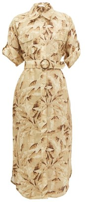 Zimmermann Super Eight Palm-print Linen Shirtdress - Womens - Yellow Print