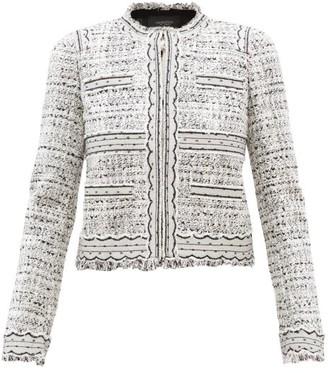 Giambattista Valli Tulle-trimmed Cotton-blend Boucle Jacket - Womens - White Black