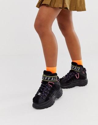 Buffalo David Bitton London hiker lace up classic hightop sneakers in black