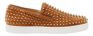 Christian Louboutin Roller Boat Camel Suede Trainers