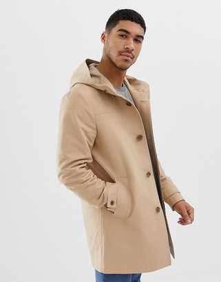 Asos Design DESIGN hooded trench coat with shower resistance in stone