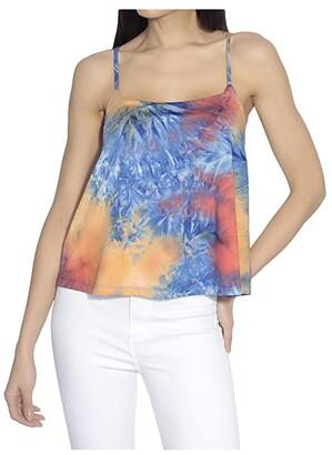 Susana Monaco Thin Strap Flare Tie-Dye Tank Top (Navy/Orange) Women's Clothing