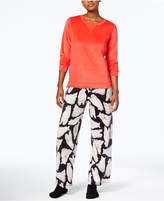 Hue Sueded Fleece Top & Printed Pants with Socks Pajama Set