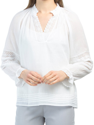 Lace Sleeve Woven Top