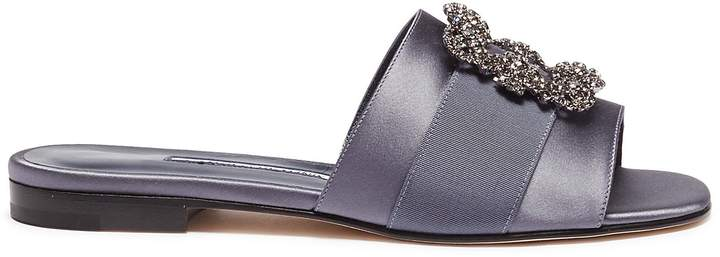 Manolo Blahnik 'Martamod' Swarovski crystal brooch satin slide sandals