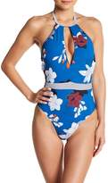 Red Carter Keyhole Halter One-Piece Swimsuit