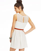 Amy Byer Belted Lace Illusion Dress