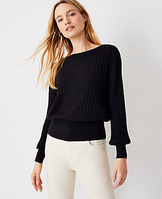 Ann Taylor Ribbed Bell Sleeve Sweater