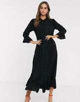 Asos Design DESIGN button through tiered smock maxi dress in crinkle