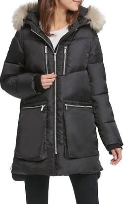 DKNY Faux Fur-Trim Puffer Coat