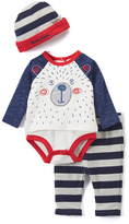 Baby Essentials Red & White Bear Bodysuit Set - Infant