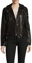 7 For All Mankind Women's Leather Belted Motorcycle Jacket