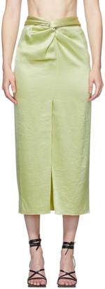 Nanushka Green Satin Twisted Samara Skirt