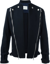 Pierre Balmain diagonal zips open jacket - men - Cotton - 46
