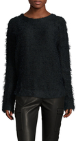 Three Dots Fuzzy Fringe Drop Shoulder Sweater