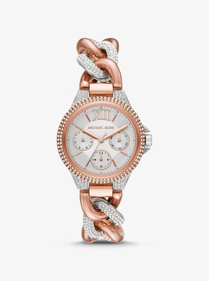 Michael Kors Mini Camille Pave Two-Tone Curb-Link Watch