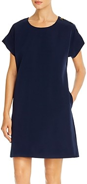 T Tahari Shoulder-Button Shift Dress