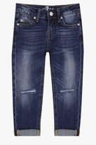 7 For All Mankind Girls 4-6x Josefina 5-Pocket Skinny Boyfriend Stretch Denim Jeans In Rigid Sanded Blue