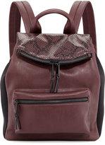 Cynthia Rowley Emma Snake-Embossed Flap-Top Backpack, Biker Berry