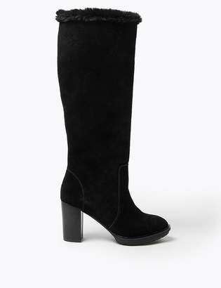 Marks and Spencer Suede Faux Fur Lined Platform Boots