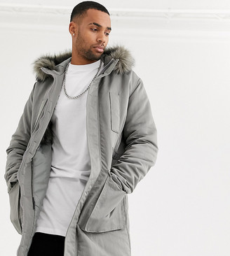 Asos Design DESIGN Tall parka jacket in grey with faux fur lining