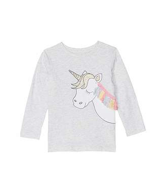 Cotton On Stevie Long Sleeve Embellished Tee (Little Kids) (Summer Grey Marle/Unicorn Fringe/Set In) Girl's Clothing